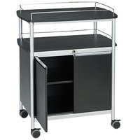 Safco 8964BL 33 1/2 inch x 21 3/4 inch x 43 inch Black Mobile Beverage Cart