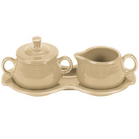Homer Laughlin 821330 Fiesta Ivory Sugar and Cream Tray Set - 4 Sets / Case