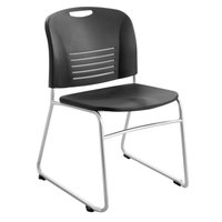 Safco 4292BL Vy Series Black Plastic Stackable Guest Chair with Sled Base   - 2/Case