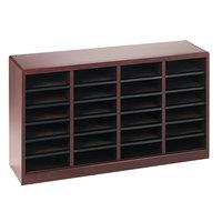 Safco 9311MH E-Z Stor 40 inch x 11 3/4 inch x 23 inch Mahogany 24-Section Wood / Fiberboard File Organizer
