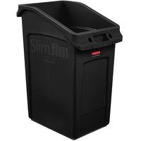 Rubbermaid 2026722 92 Qt. / 23 Gallon Slim Jim Under-Counter Black Trash Can