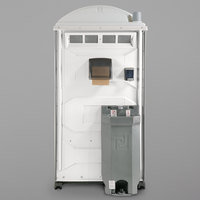 PolyJohn PJG3-1008 GAP Compliant White Portable Restroom with Sink, Soap, and Towel Dispenser