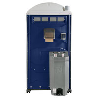 PolyJohn PJG3-1016 GAP Compliant Dark Blue Portable Restroom with Sink, Soap, and Towel Dispenser