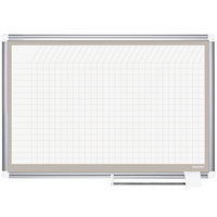 MasterVision CR1232830A 48 inch x 72 inch White Grid Planner Porcelain Dry Erase Planning Board with Accessories - 1 inch x 1 inch Grid
