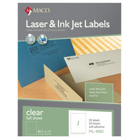 MACO ML4005 Laser / Inkjet 8 1/2 inch x 11 inch Matte Clear Full Sheet Shipping and Address Labels - 50/Box