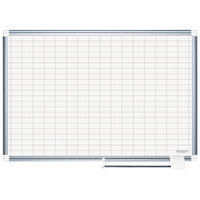 MasterVision CR1230830 48 inch x 72 inch White Grid Planner Porcelain Dry Erase Planning Board - 1 inch x 2 inch Grid