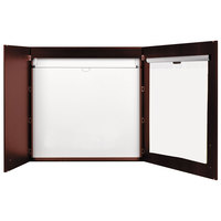 MasterVision CAB01010130 New Classic 48 inch x 48 inch 3-in-1 Cherry Laminate Porcelain Whiteboard Conference Cabinet with Projection Screen