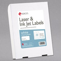 MACO ML1000B Laser / Inkjet 2 inch x 4 inch White Shipping and Address Labels - 2500/Box