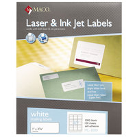 MACO ML3000 Laser / Inkjet 1 inch x 2 5/8 inch White Shipping and Address Labels - 3000/Box
