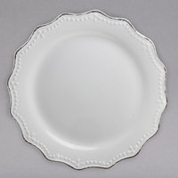 10 Strawberry Street OXFRD-1 Oxford 11 inch Silver/Metallic Rim White Stoneware Plate - 12/Case