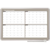 MasterVision GA05105830 Gold Ultra 48 inch x 36 inch Magnetic Four Month Enameled Steel Dry Erase Board Planner with Silver Aluminum Frame