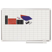 MasterVision CR0630830A 24 inch x 36 inch White Grid Porcelain Dry Erase Planning Board with Accessories - 1 inch x 2 inch Grid