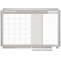 MasterVision GA0597830 Gold Ultra 48 inch x 36 inch Magnetic Monthly Enameled Steel Dry Erase Board Planner with Silver Aluminum Frame