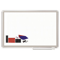 MasterVision GA05108830A 36 inch x 48 inch White Grid Porcelain Dry Erase All-Purpose Planning Board with Accessories - 1 inch x 1 inch Grid