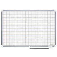 MasterVision CR0830830A 36 inch x 48 inch White Grid Porcelain Dry Erase Planning Board with Accessories - 1 inch x 2 inch Grid