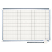 MasterVision CR0830830 36 inch x 48 inch White Grid Porcelain Dry Erase Planning Board - 1 inch x 2 inch Grid