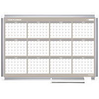 MasterVision GA05106830 Gold Ultra 48 inch x 36 inch Magnetic Twelve Month Enameled Steel Dry Erase Board Planner with Silver Aluminum Frame