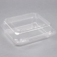 Durable Packaging PXT-880 8 inch x 8 inch x 3 inch Clear Hinged Lid Plastic Container   - 125/Pack