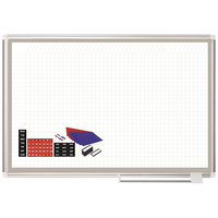 MasterVision CR0832830A 36 inch x 48 inch White Grid Porcelain Dry Erase All-Purpose Planning Board with Accessories - 1 inch x 2 inch Grid