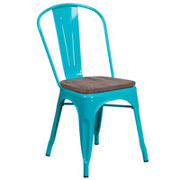 Flash Furniture ET-3534-CB-WD-GG Crystal Teal-Blue Stackable Metal Chair with Vertical Slat Back and Wood Seat