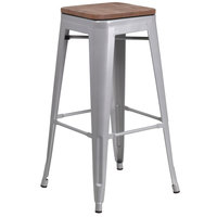 Flash Furniture CH-31320-30-SIL-WD-GG 30 inch Silver Stackable Metal Backless Bar Height Stool with Square Wood Seat