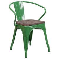 Flash Furniture CH-31270-GN-WD-GG Green Stackable Metal Chair with Arms, Vertical Slat Back, and Wood Seat