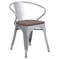 Flash Furniture CH-31270-SIL-WD-GG Silver Stackable Metal Chair with Arms, Vertical Slat Back, and Wood Seat