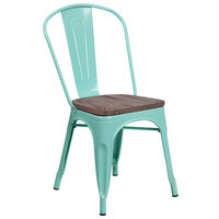 Flash Furniture ET-3534-MINT-WD-GG Mint Green Stackable Metal Chair with Vertical Slat Back and Wood Seat