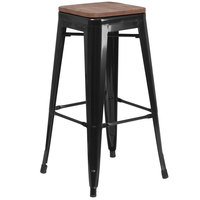 Flash Furniture CH-31320-30-BK-WD-GG 30 inch Black Stackable Metal Backless Bar Height Stool with Square Wood Seat