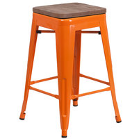 Flash Furniture CH-31320-24-OR-WD-GG 24 inch Orange Stackable Metal Backless Counter Height Stool with Square Wood Seat