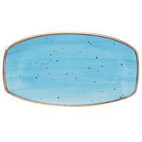 10 Strawberry Street SAN-13REC-TAOS Santa Fe 13 inch x 7 1/4 inch Taos Blue China Rectangle Plate - 12/Case