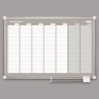 MasterVision GA0396830 36 inch x 24 inch Magnetic Weekly Enameled Steel Dry Erase Board with Silver Aluminum Frame
