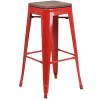 Flash Furniture CH-31320-30-RED-WD-GG 30 inch Red Stackable Metal Backless Bar Height Stool with Square Wood Seat
