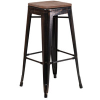 Flash Furniture CH-31320-30-BQ-WD-GG 30 inch Black-Antique Gold Stackable Metal Backless Bar Height Stool with Square Wood Seat