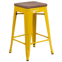 Flash Furniture CH-31320-24-YL-WD-GG 24 inch Yellow Stackable Metal Backless Counter Height Stool with Square Wood Seat
