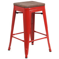 Flash Furniture CH-31320-24-RED-WD-GG 24 inch Red Stackable Metal Backless Counter Height Stool with Square Wood Seat