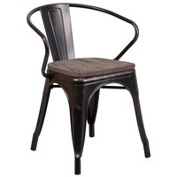 Flash Furniture CH-31270-BQ-WD-GG Black-Antique Gold Stackable Metal Chair with Arms, Vertical Slat Back, and Wood Seat