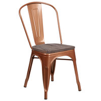 Flash Furniture ET-3534-POC-WD-GG Copper Stackable Metal Chair with Vertical Slat Back and Wood Seat