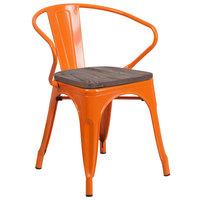 Flash Furniture CH-31270-OR-WD-GG Orange Stackable Metal Chair with Arms, Vertical Slat Back, and Wood Seat
