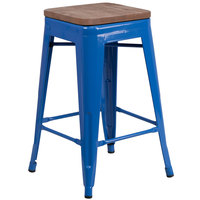 Flash Furniture CH-31320-24-BL-WD-GG 24 inch Blue Stackable Metal Backless Counter Height Stool with Square Wood Seat
