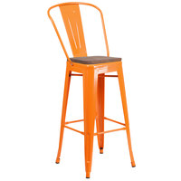 Flash Furniture CH-31320-30GB-OR-WD-GG 30 inch Orange Stackable Metal Bar Height Stool with Vertical Slat Back and Wood Seat