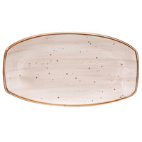 10 Strawberry Street SAN-13REC-PBLO Santa Fe 13 inch x 7 1/4 inch Pueblo Brown China Rectangle Plate - 12/Case