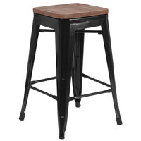 Flash Furniture CH-31320-24-BK-WD-GG 24 inch Black Stackable Metal Backless Counter Height Stool with Square Wood Seat
