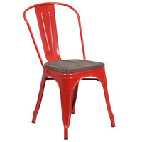 Flash Furniture CH-31230-RED-WD-GG Red Stackable Metal Chair with Vertical Slat Back and Wood Seat