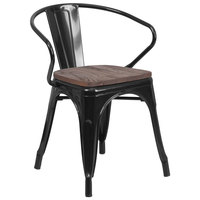Flash Furniture CH-31270-BK-WD-GG Black Stackable Metal Chair with Arms, Vertical Slat Back, and Wood Seat