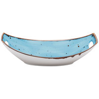 10 Strawberry Street SAN-11OVLBWL-TAOS Santa Fe 16 oz. Taos Blue China Oval Bowl with Handles - 24/Case