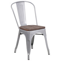 Flash Furniture CH-31230-SIL-WD-GG Silver Stackable Metal Chair with Vertical Slat Back and Wood Seat