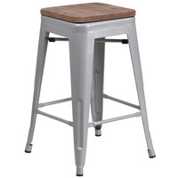 Flash Furniture CH-31320-24-SIL-WD-GG 24 inch Silver Stackable Metal Backless Counter Height Stool with Square Wood Seat