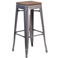 Flash Furniture XU-DG-TP0004-30-WD-GG 30 inch Clear Coated Stackable Metal Backless Bar Height Stool with Square Wood Seat