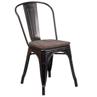 Flash Furniture CH-31230-BQ-WD-GG Black-Antique Gold Stackable Metal Chair with Vertical Slat Back and Wood Seat